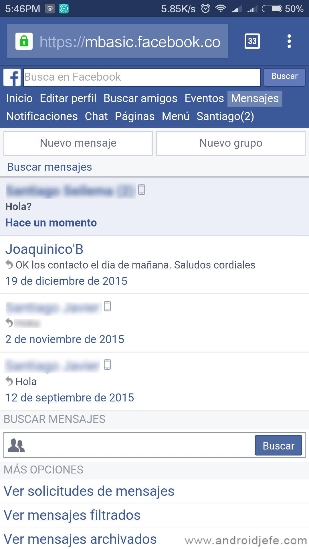 Mensajes facebook sin messenger