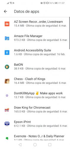 applications that have backup on Android