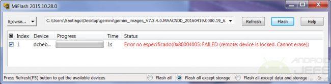 El  bootloader bloqueado no permite instalar o flashear la ROM stock  con el programa MiFlash
