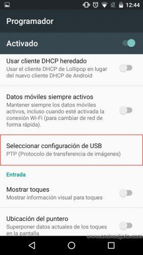 conexion usb por defecto android 6 marshmallow programador