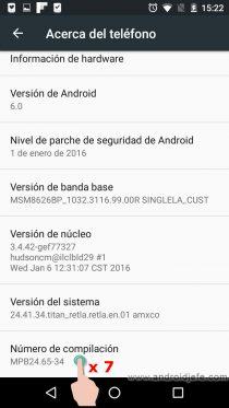 menú desarrollador android