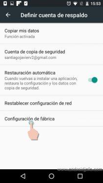 menu desarrollador android restablecer