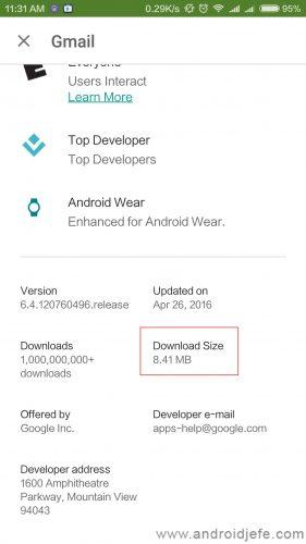 Tamaño de la actualización a Gmail 6.4.120760496