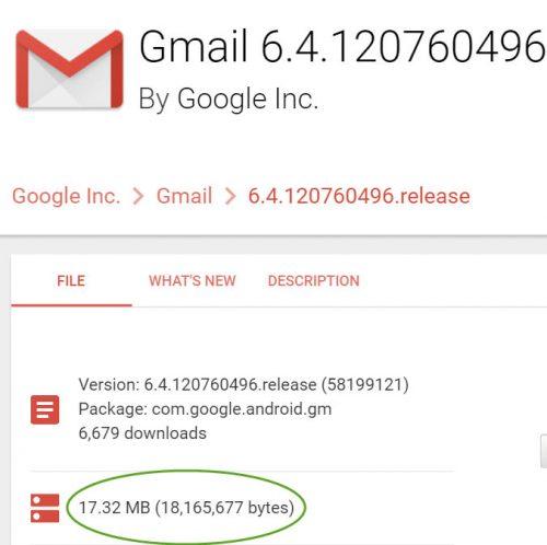 Tamaño total de la aplicación Gmail 6.4.120760496