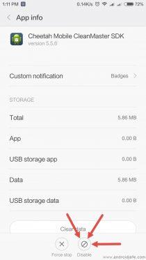 Desactivar una aplicación de fábrica en Xiaomi MI 5.