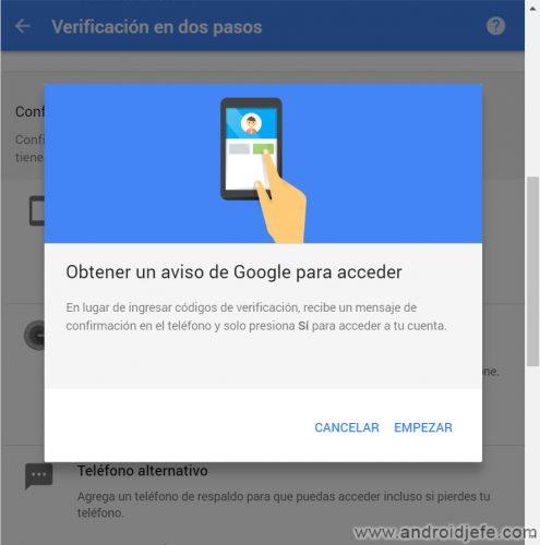 autorizar acceso cuenta google celular verificacion dos pasos