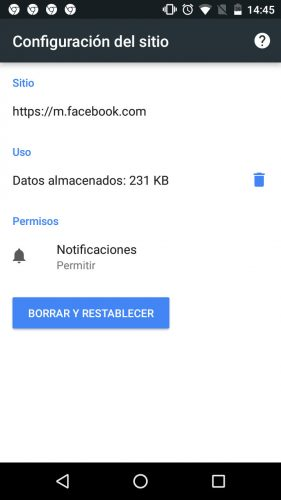 control notificaciones facebook chrome android permitir
