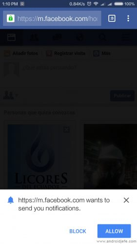 notificaciones facebook chrome android