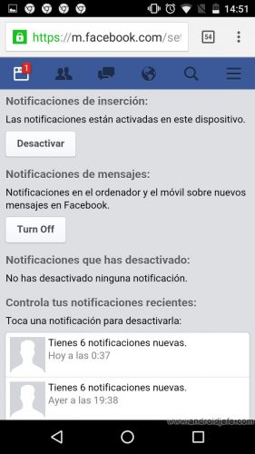 notificaciones facebook chrome android filtrar
