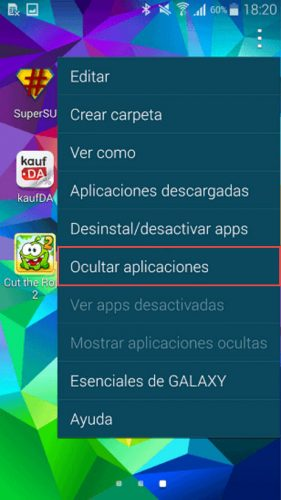 ocultar aplicaciones android