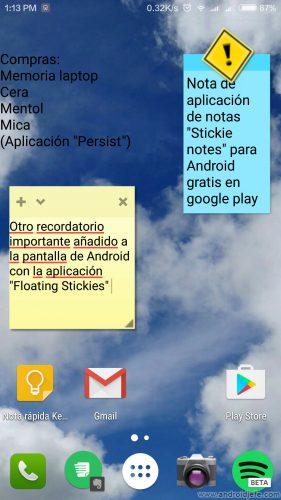 poner notas pantalla android 2