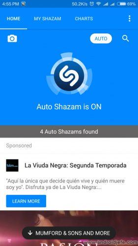 shazam identificar automaticamente canciones