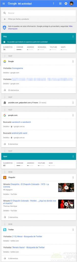 ver borrar actividad cuenta google