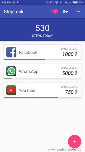 caminata desbloquear aplicaciones steplock
