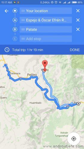 poner varias direcciones google maps android