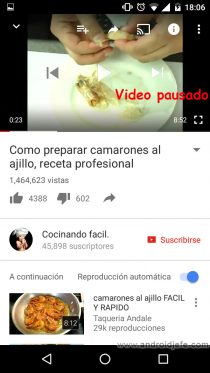 comandos voz controlar app youtube video pausado