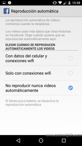 desactivar reproduccion automatica videos facebook