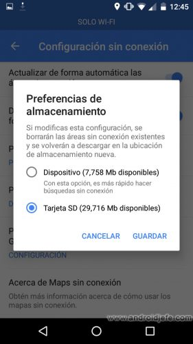 google maps solo wifi descargar mapas sd