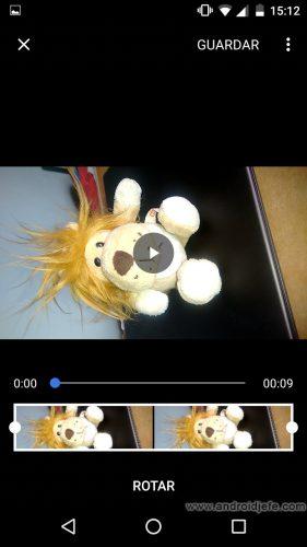 rotar videos google fotos android app