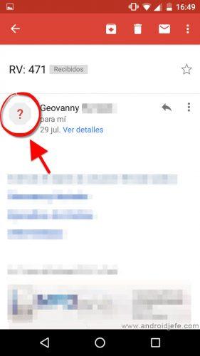signo pregunta correo gmail android