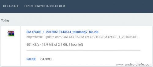 Descargando firmware para Galaxy S7 desde updato.com