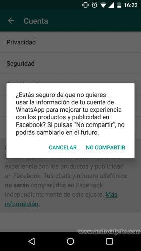 whatsapp comparte numeros de telefono facebook ajustes confirmar