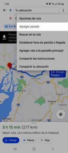 agregar parada google maps