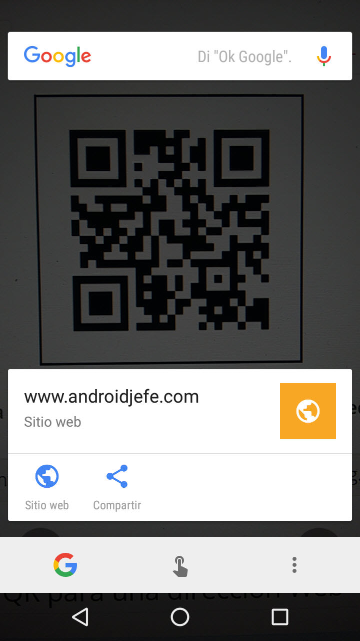Usa el lector de códigos QR de Google en Android (sin APP adicional)