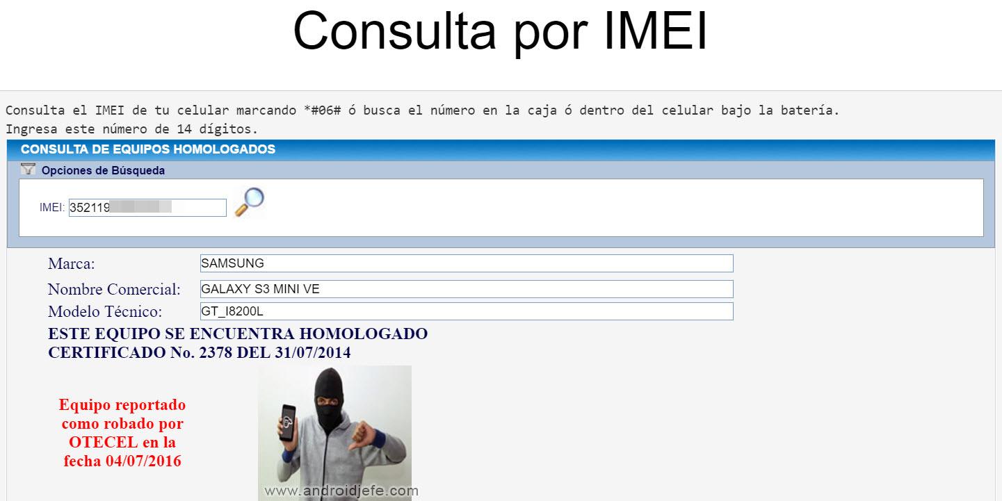 Verificar IMEI, celular reportado u homologado (Ecuador)