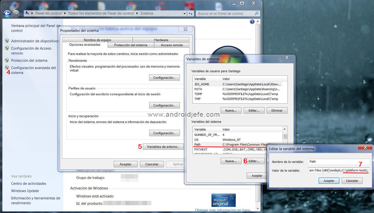 04977c3b4 Configuración de variables de entorno en Windows 7. Pasos del 4 al 7.