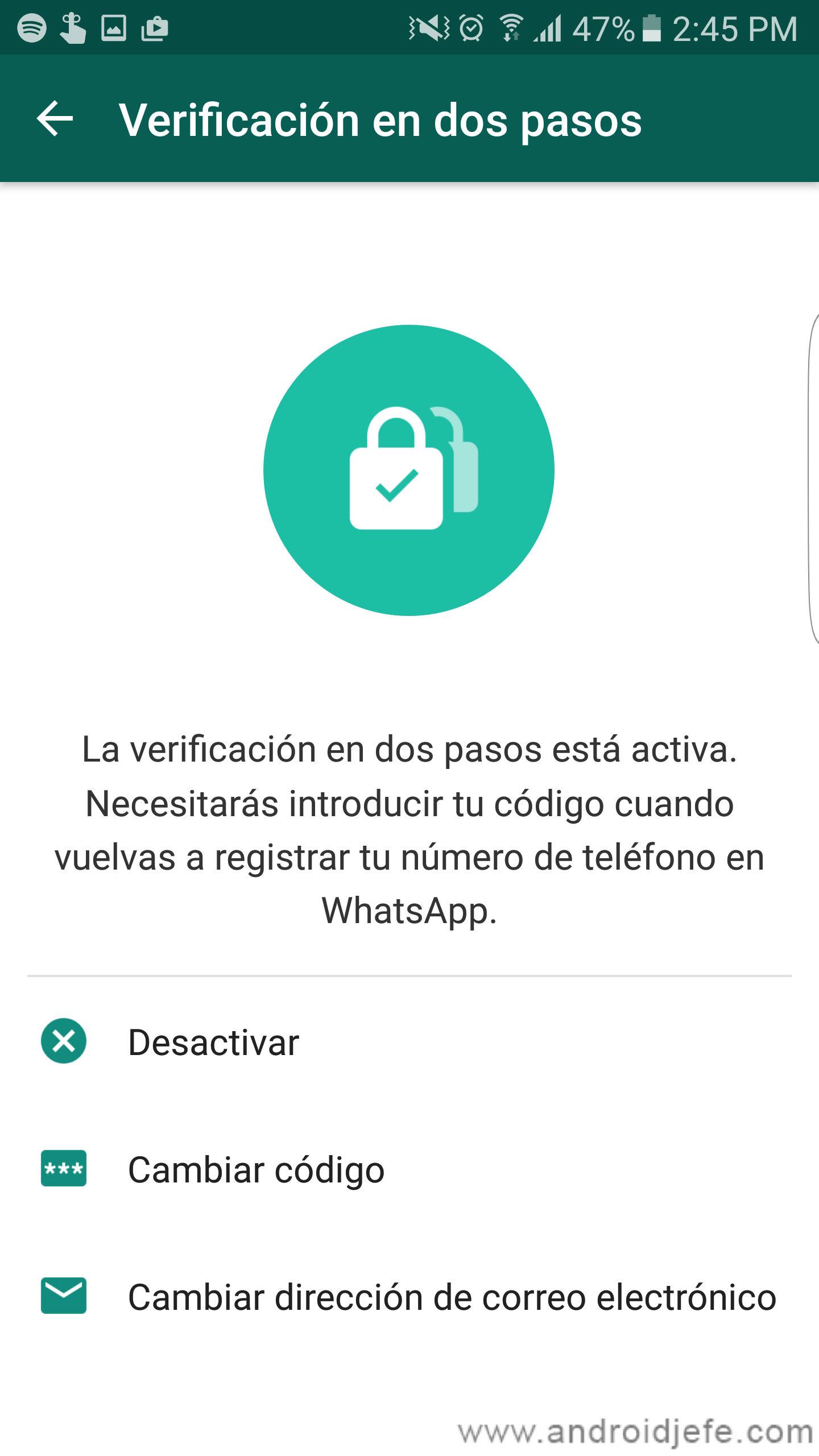 Protege tu cuenta de WhatsApp con la verificación de dos pasos