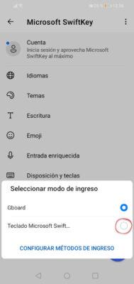 cambiar teclado android swiftkey