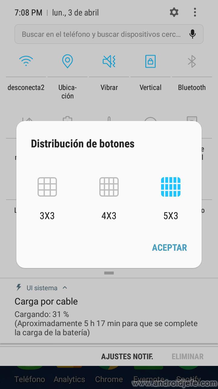 Cómo modificar el número de ajustes rápidos disponibles (Samsung Galaxy)