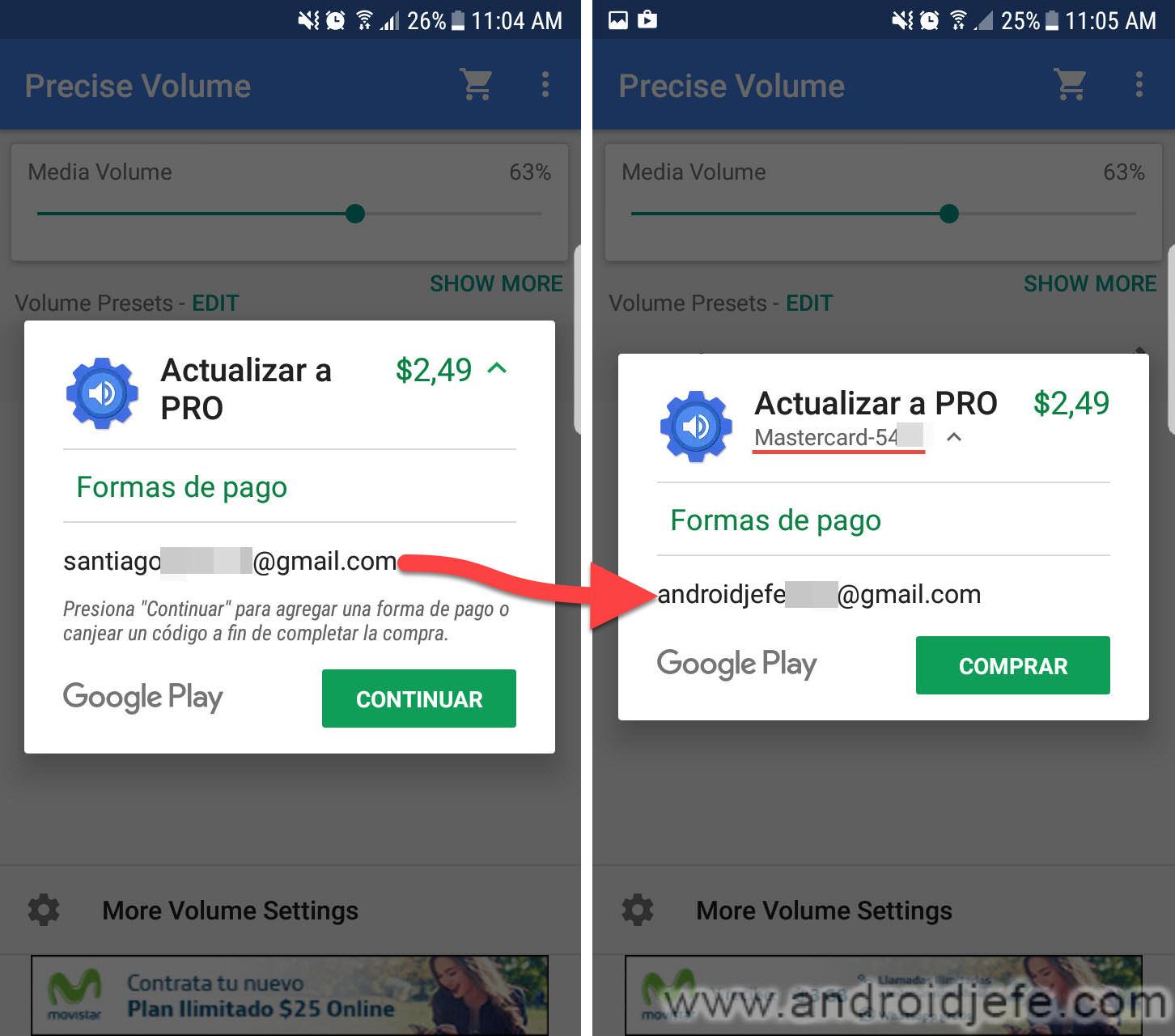 Cómo pagar con otra cuenta en Google Play Store