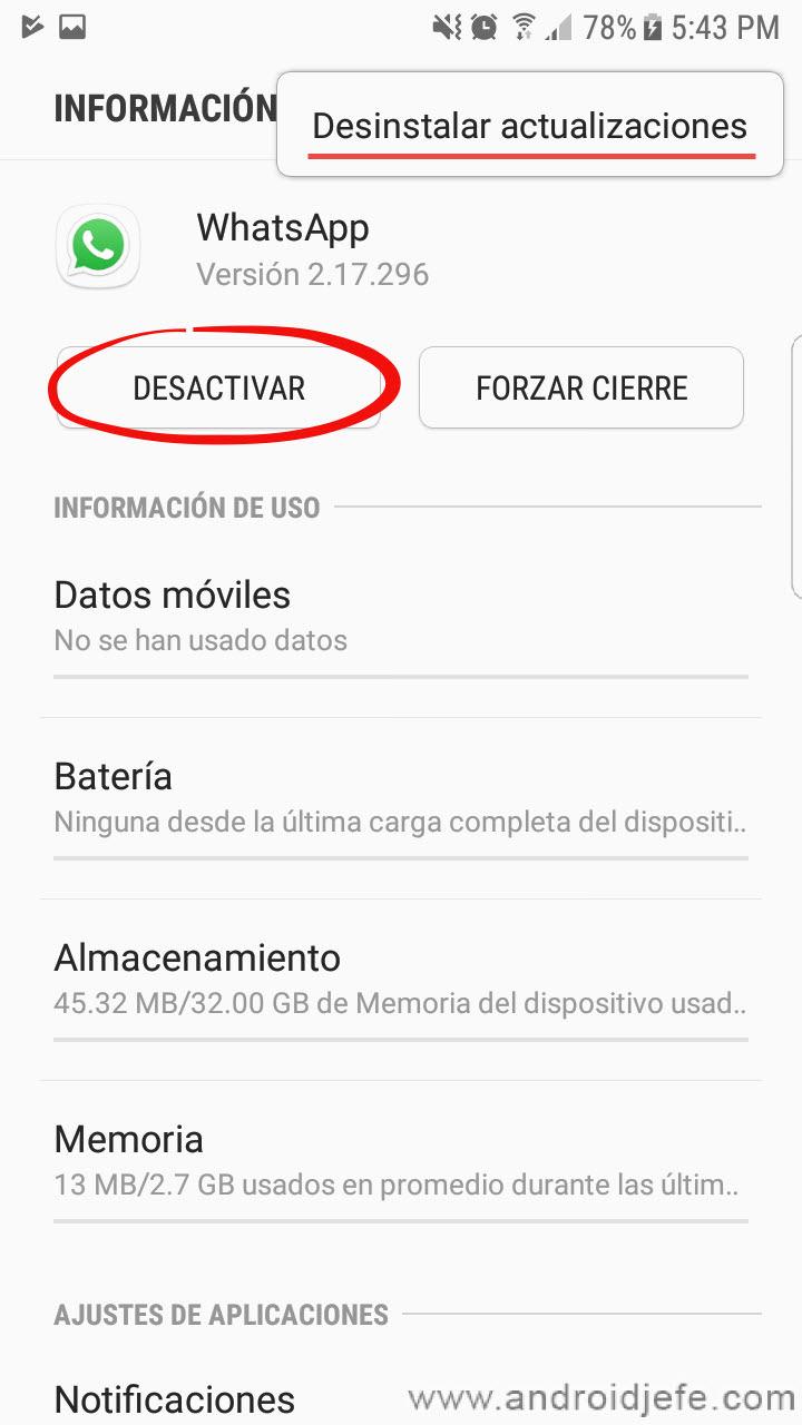 Cómo DESACTUALIZAR WhatsApp, Facebook y cualquier app