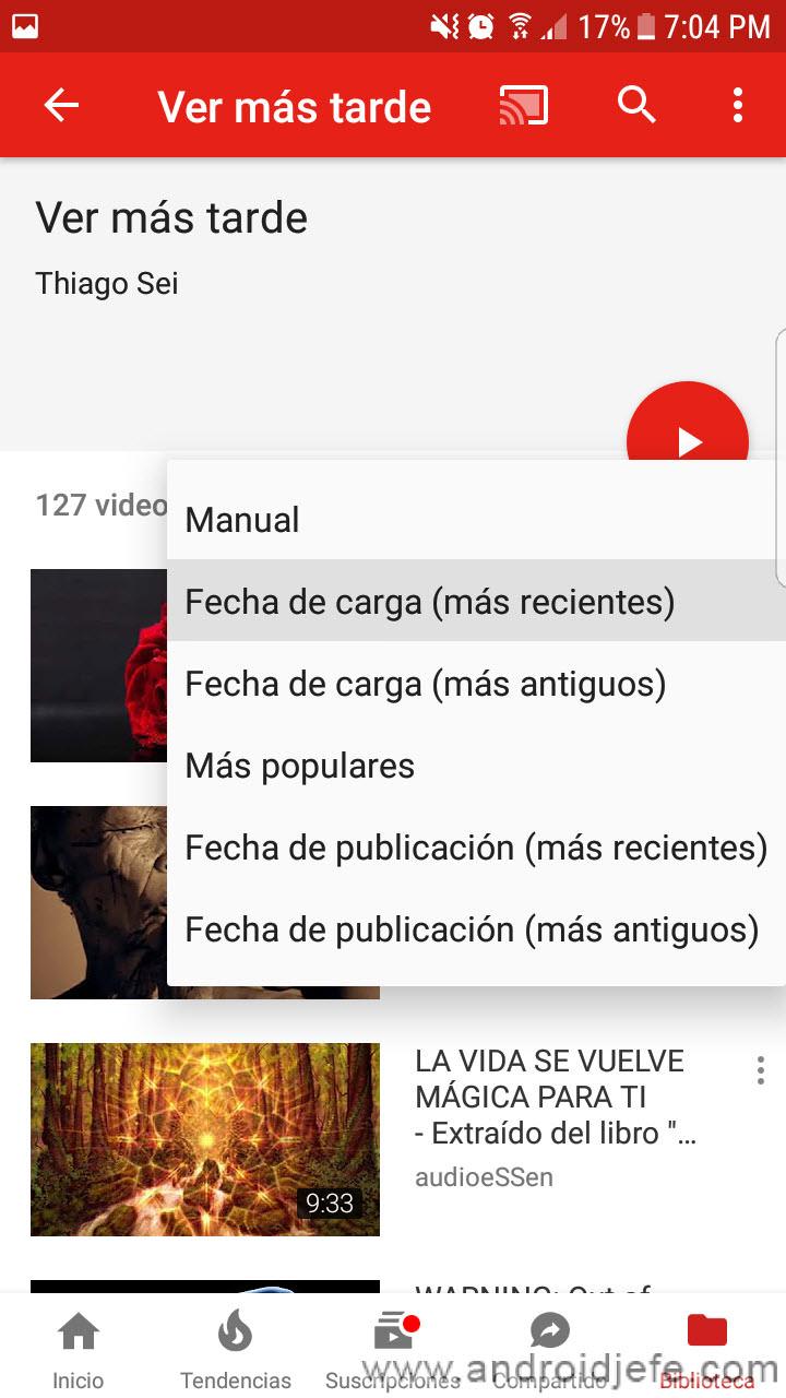 Cómo VER MÁS TARDE videos en YouTube