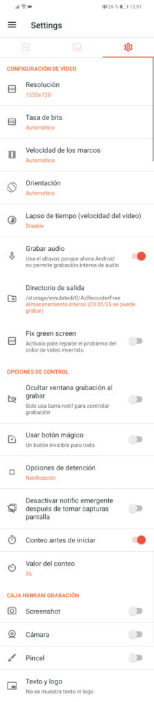 az screen recorder opciones