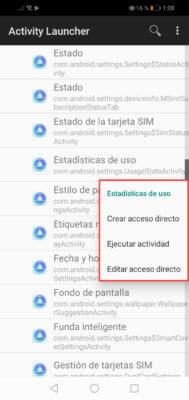 estadisticas de uso aplicaciones android activity launcher opciones