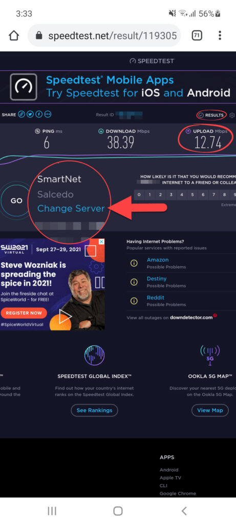 speedtest upload speed and switch server on cell phone 2