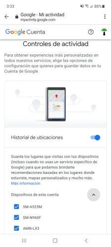 dispositivos android asociados a historial de ubicaciones