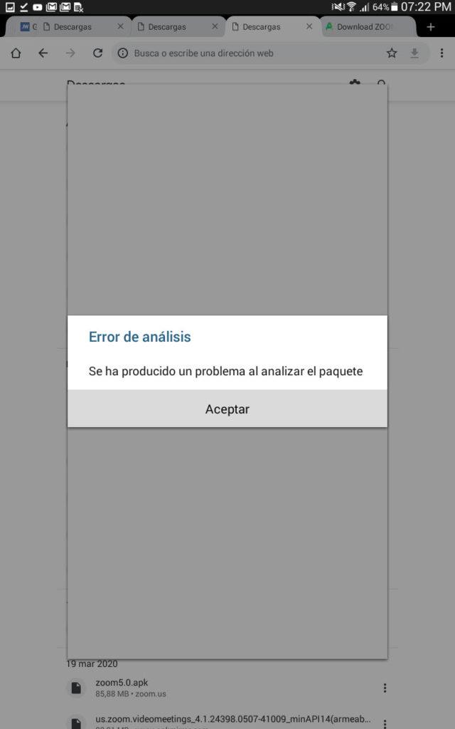 No se puede instalar Zoom 5.0 en un dispositivo con Android 4.4.4
