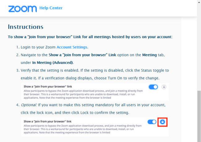 Instrucciones para permitir que los usuarios entren a las reuniones de Zoom desde el navegador