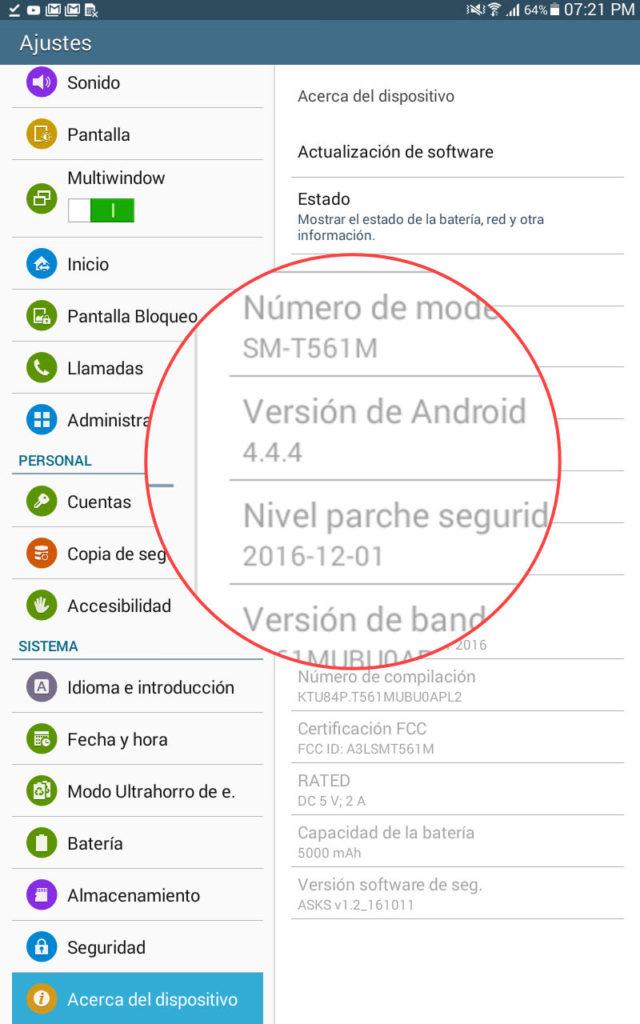 El sistema Android 4.4.4 de la Samsung Galaxy Tab E no permite continuar usando Zoom, porque la última versión de esta app (5.0) requiere sistema Android 5.0
