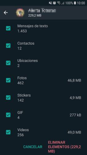 espacio que usa un grupo de whatsapp