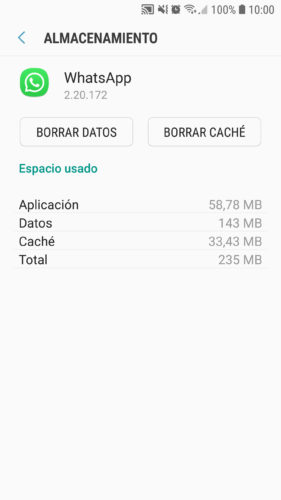 espacio que usa whatsapp segun android
