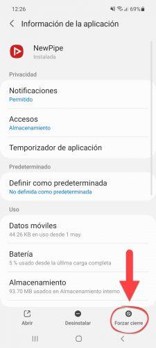 forzar cierre aplicacion android