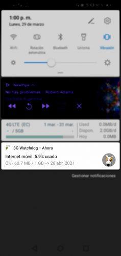monitor de datos con notificacion de consumo