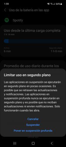 suspender y poner en suspension profunda samsung galaxy android 11 one ui 31