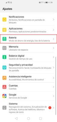 desactivar ahorro bateria huawei 11