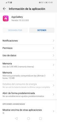 app gallery no se puede desactivar huawei